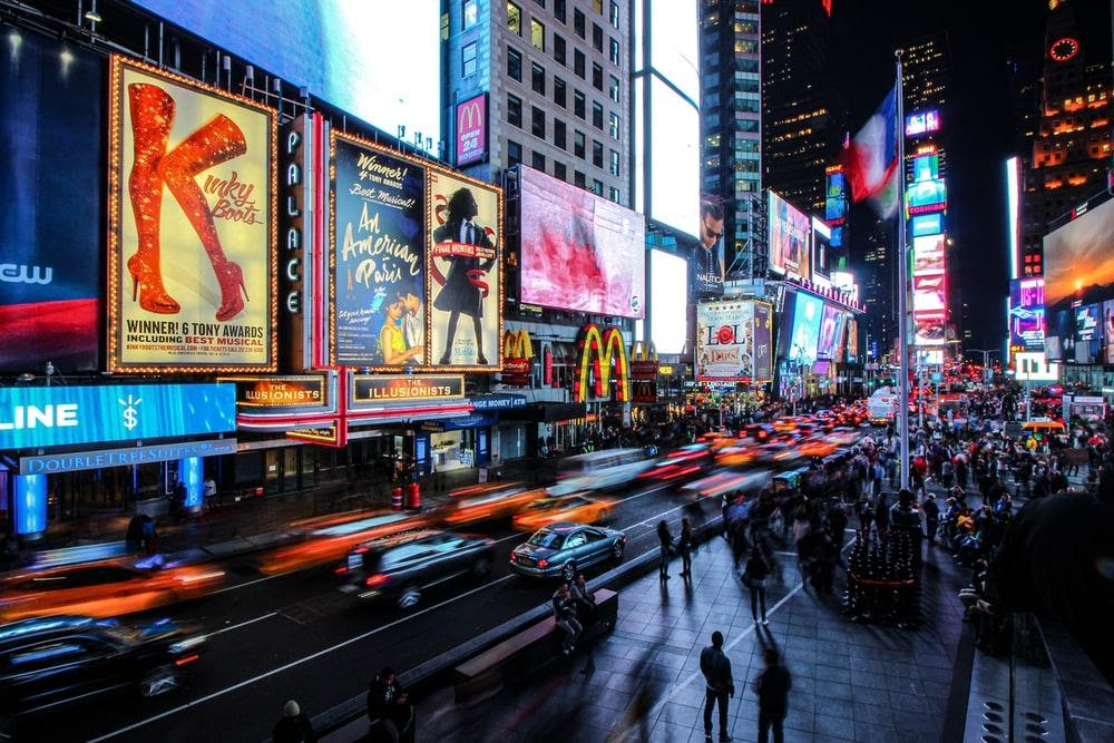 Digital OOH examples in Time Square, New York City